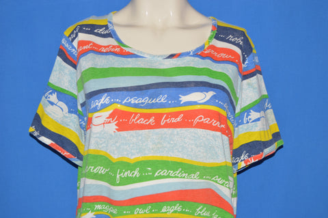 70s Rainbow Women's Bird Striped Women's t-shirt Large