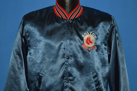 80s Boston Red Sox Blue Satin Baseball Jacket Small