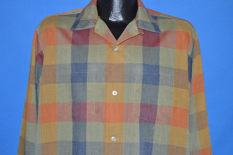 60s Van Heusen Plaid Rockabilly Shirt Large