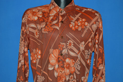 70s Floral Disco shirt Large
