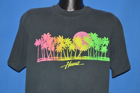80s Hawaii Neon Sunset Palm Trees t-shirt Extra Large