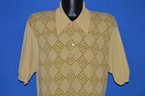 70s Yellow Diamond Print Polo Shirt Large