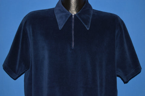 70s Blue Velour Zip Front Polo Shirt Large