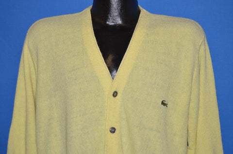 70s Izod Lacoste Yellow Cardigan Sweater Medium