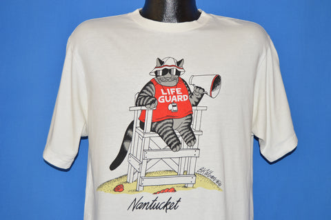 80s B Kliban Fat Cat Nantucket Lifeguard t-shirt Large