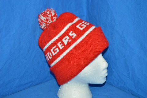 80s Wisconsin Badgers Knit Bobble Winter Hat