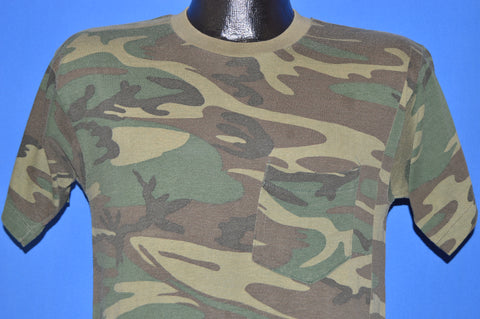 80s Camouflage Woodlands Pocket Hunting t-shirt Small