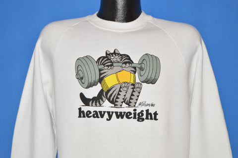 80s B Kliban Fat Cat Heavyweight Sweatshirt Large