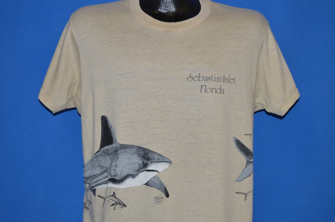80s Sebastian Inlet Florida Shark Wrap Around t-shirt Large