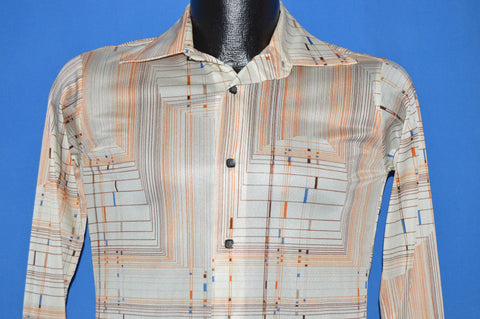 70s Kaynee Geometric Print Disco Shirt Men's Extra Small