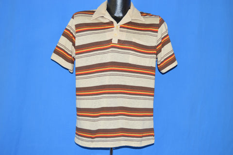 80s Encino Brown Striped Surf Polo shirt Medium