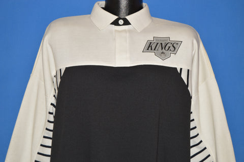 87524e01e 90s Los Angeles Kings NHL Rugby Collar Sweatshirt Large