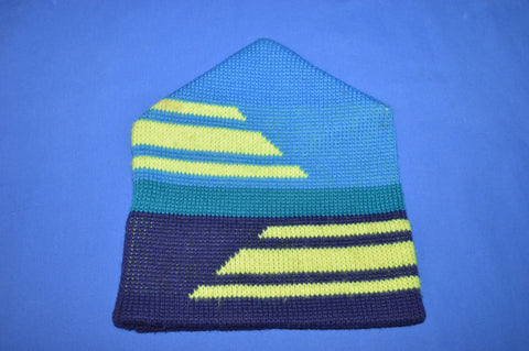 80s Blue Purple Neon Wool Winter Hat