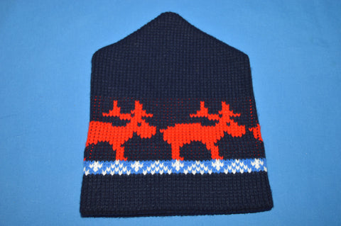 80s Reindeer Animal Print Snowflake Beanie Winter Hat