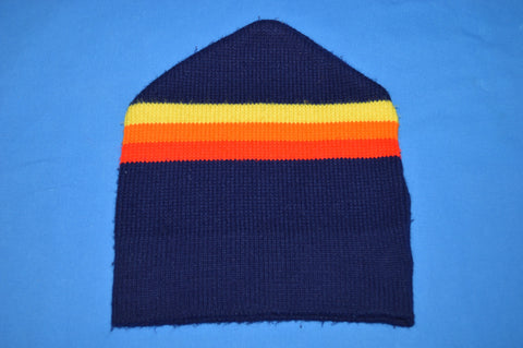 80s Dark Blue Rainbow Striped Beanie Winter Hat