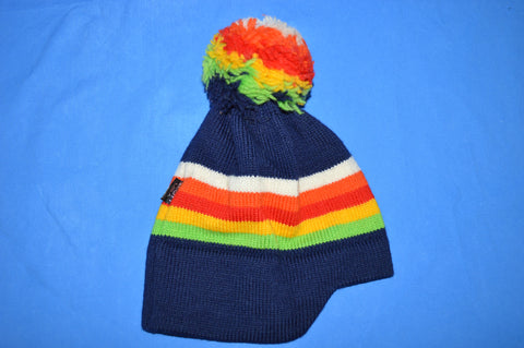 70s Scott USA Rainbow Wool Knit Winter Ski Bobble Hat