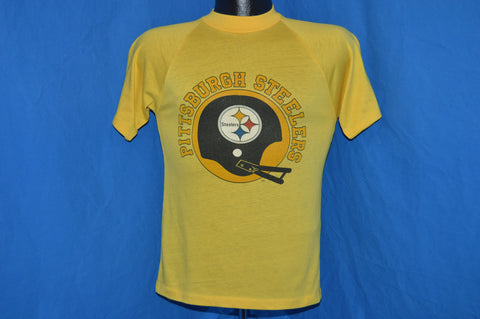 70s Pittsburgh Steelers Football Helmet Raglan t-shirt Small