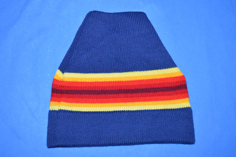70s Wigwam Striped Wool Winter Knit Beanie Hat