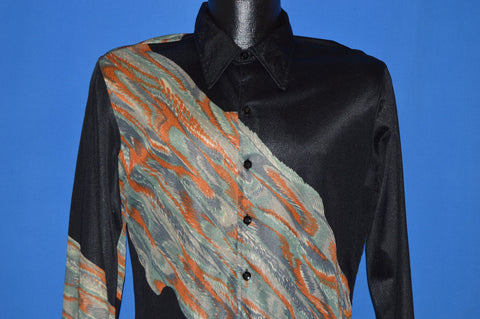 70s Hutspah Acetate Wrap Around Print Disco shirt Medium