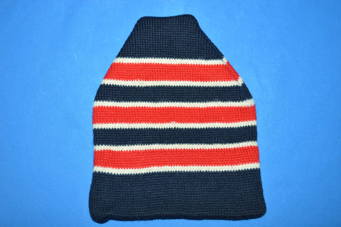 80s Smiley Striped Wool Knit Winter Ski Beanie Hat