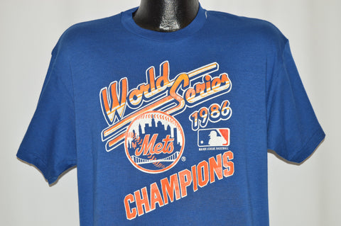 80s New York Mets 1986 World Series Blue t-shirt Large