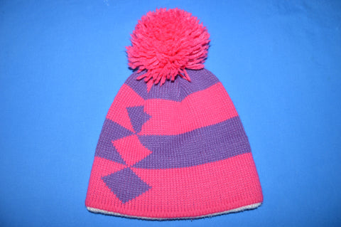 90s Pink Purple Diamonds Stripes Bobble Winter Hat