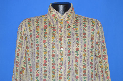 70s Viking Flowered Big Collar Disco shirt Medium