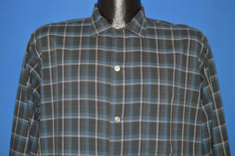 50s Brent Plaid Square Bottom Men's Button Down shirt Large