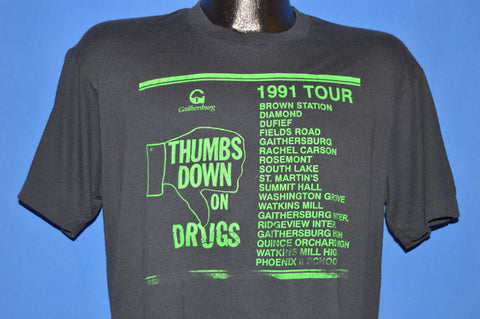 90s Gaithersburg Thumbs Down on Drugs Tour t-shirt Medium