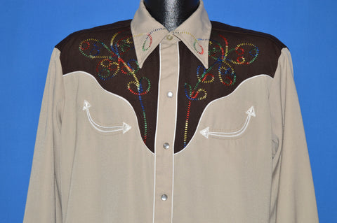 70s H Bar C Ranchwear Western Pearl Snap t-shirt Large