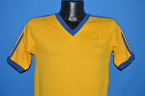 70s Adidas Yellow Blue V-neck t-shirt Small