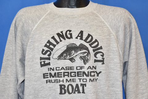 80s Fishing Addict In Case Of Emergency Sweatshirt Extra Large