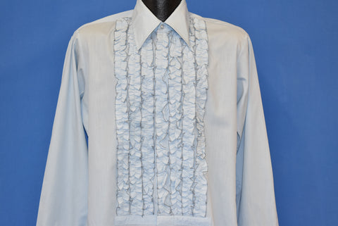 70s Blue Ruffled Tuxedo Shirt Large