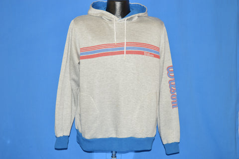 80s Wilson Striped Hooded Sweatshirt Large