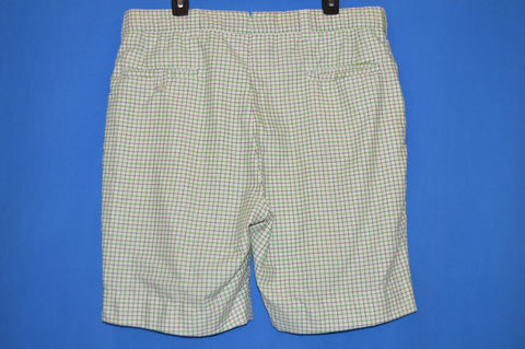 70s Green White Plaid Men's Golf Shorts Large