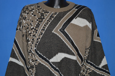80s Black and Tan Acrylic Geometric Pattern Sweater Extra Large