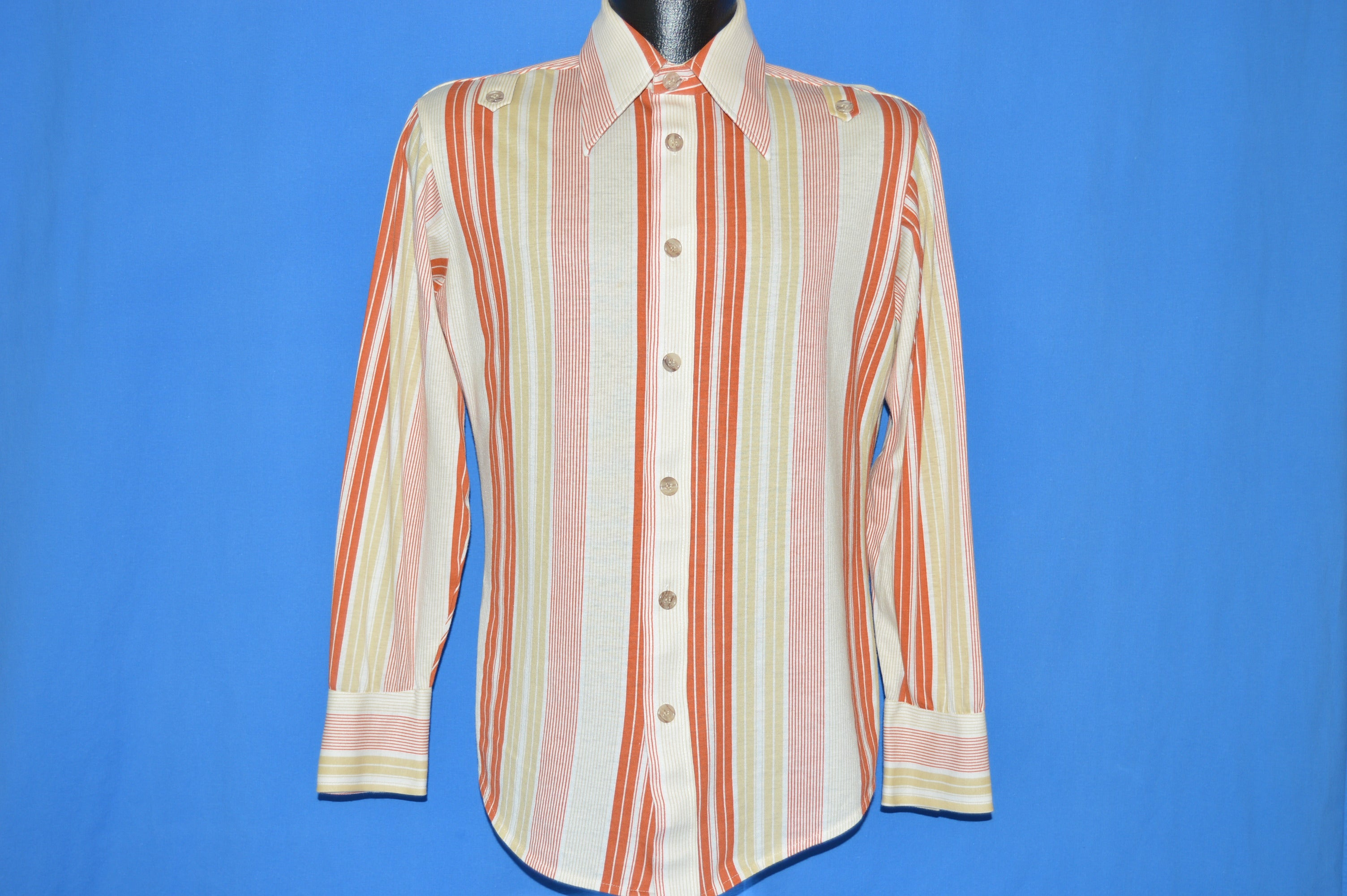 5663d12a 70s Sears Jeans Joint Striped Button Down shirt Small - The Captains ...