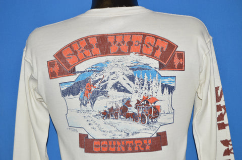 70s Ski West Country Wagon Long Sleeve Henley t-shirt Small