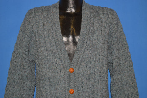 80s John Molloy Cable Knit Aran Cardigan Sweater Large