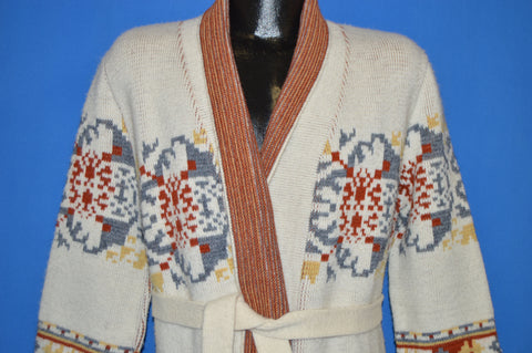70s Floral Multi-Colored Intarsia Pattern Sweater Small