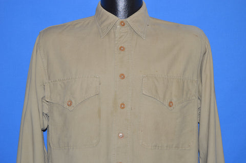 40s WWII US Marine Corps Khaki Uniform Shirt Medium
