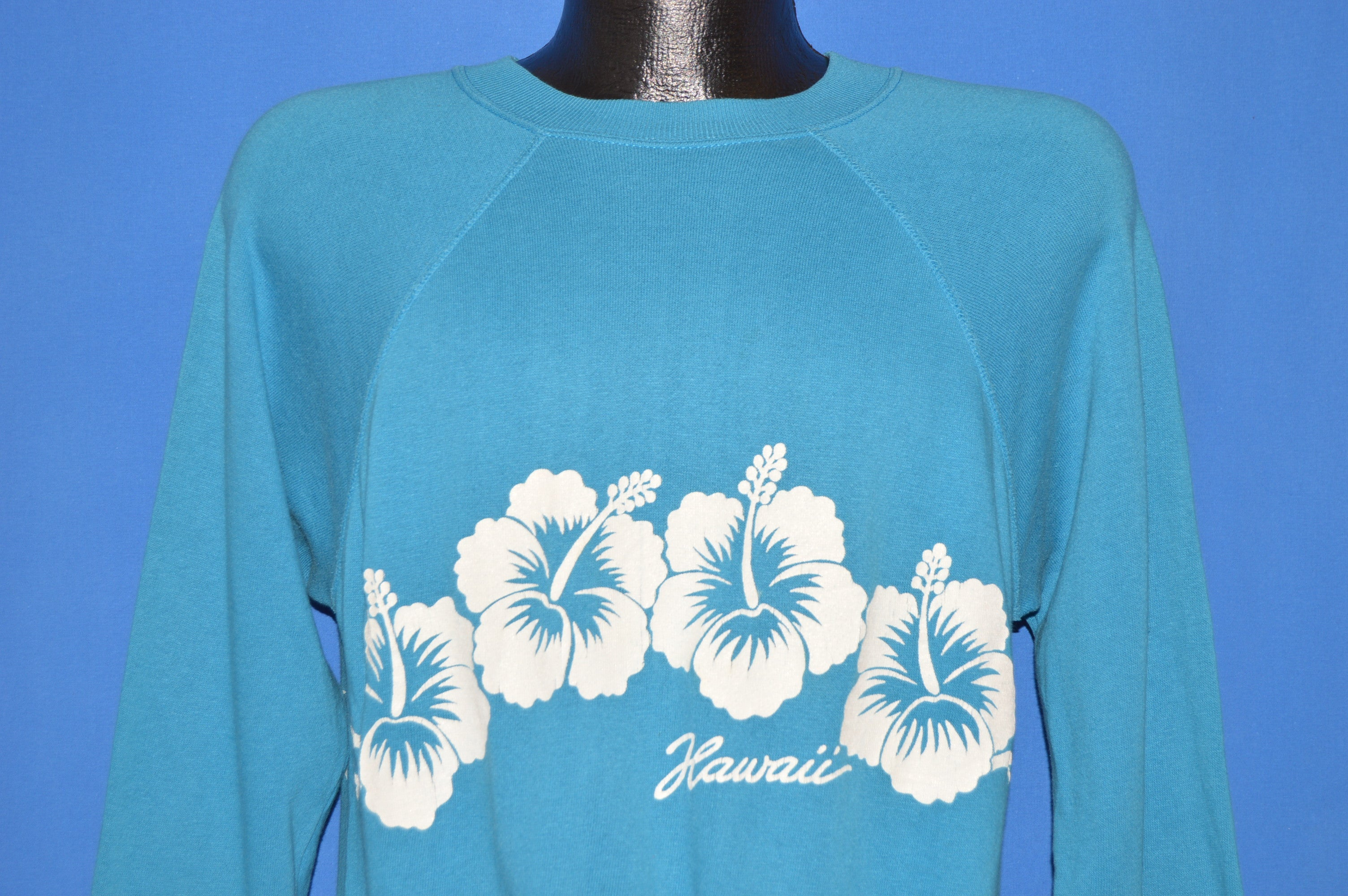 80s Hawaii Hibiscus Flower Wrap Around Sweatshirt Large The