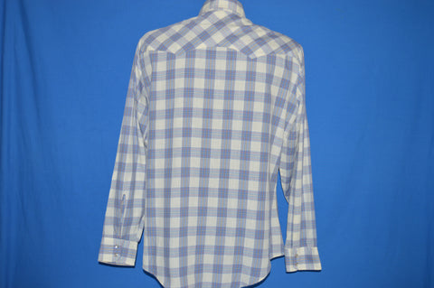 80s Levi's Blue White Plaid Western Pearl Snap Shirt Large