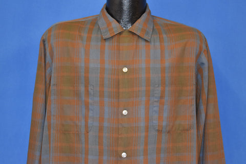 50s McGregor Scotset Brown Plaid Button Down Shirt Large