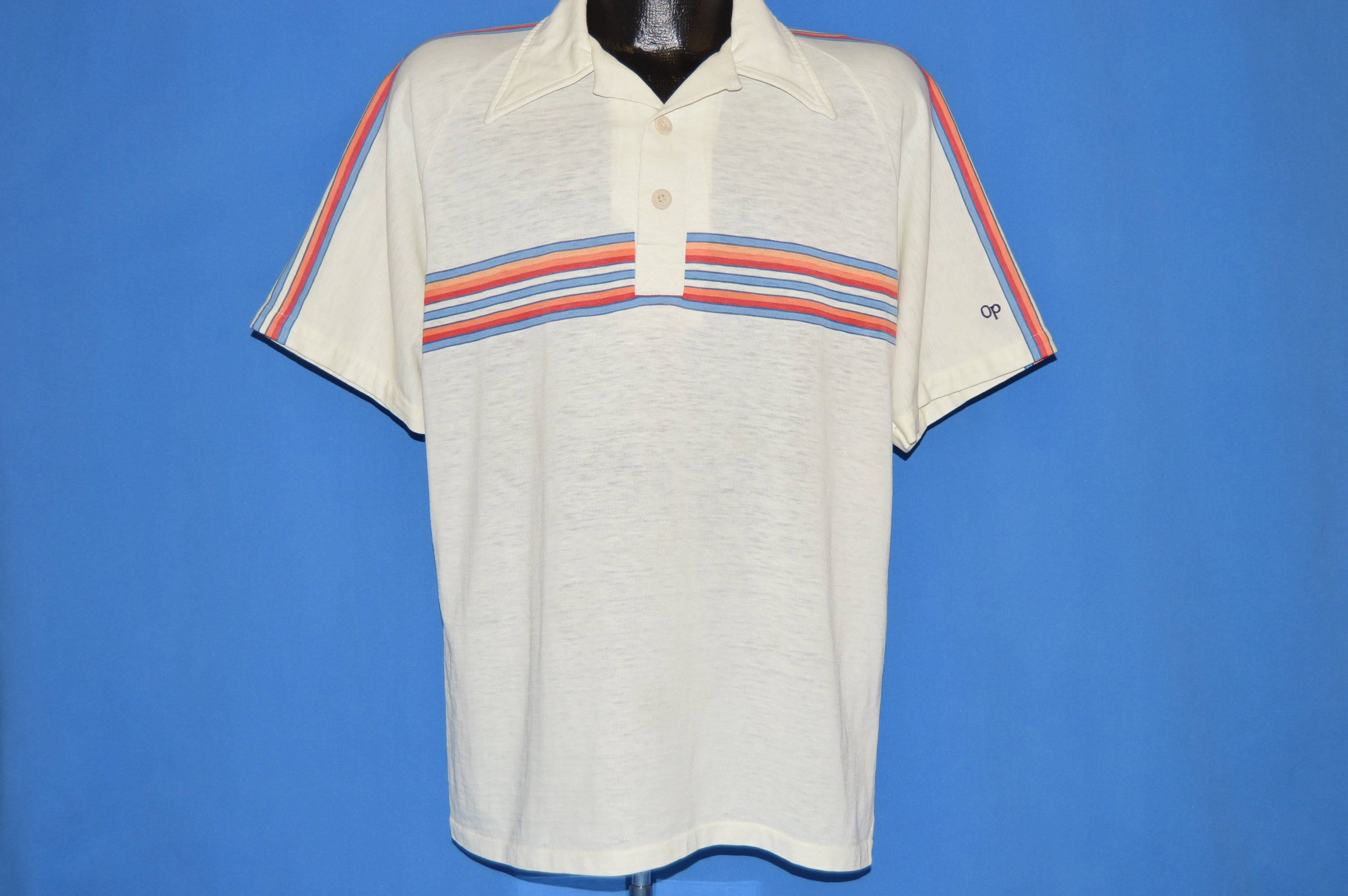 80s Op Ocean Pacific Striped Polo Shirt Large The Captains Vintage