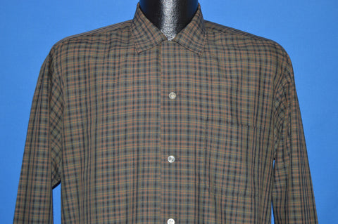50s Brown Green Plaid Loop Collar Rockabilly Shirt Medium