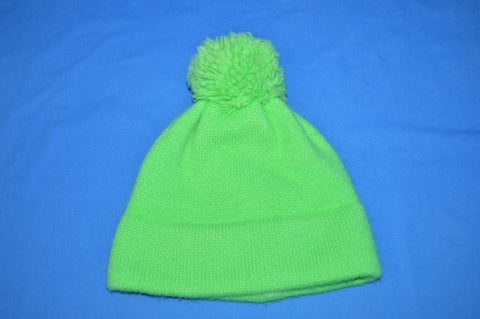 80s Neon Green Wool Bobble Winter Hat