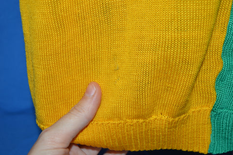 70s Green and Yellow Rugby Knit Polo Shirt Extra Large