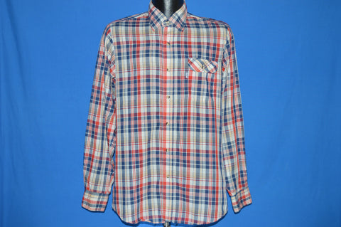 80s Levis Red White Blue Plaid Shirt Medium