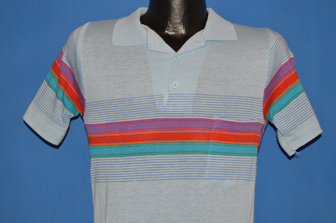 80s Latigo Bay Rainbow Stripe Polo Shirt Youth Large